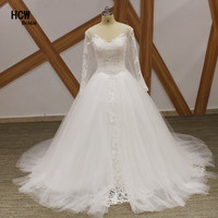 Lange Mouw Jurk Bruiloft 2018 Elegante V-hals Prinses Floor Lengte Lange Trouwjurken Plus Size Bruidsjurken Goedkope