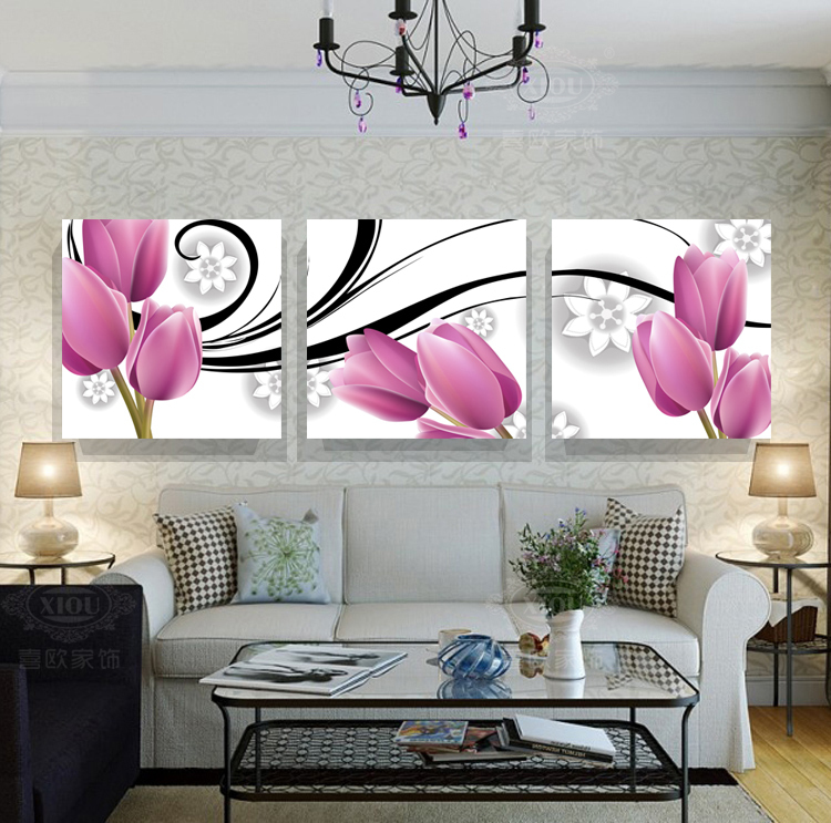 2017 new free shipping hot home decor items 3 panels abstract flower bud art pictures for house room wall decoration - Decorative Items For Home