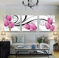 2017 Nuovo Trasporto Libero Caldo Elementi di Arredo Domestico 3 Pannelli Astratta Flower Bud Art Immagini per la Casa Camera Decorazione Della Parete