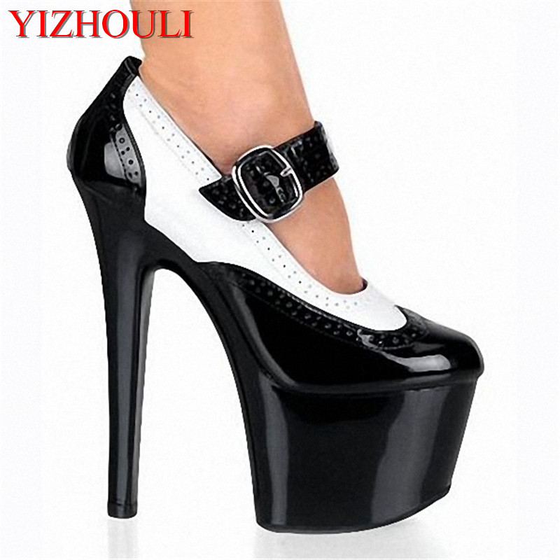 7 inch Platforms buckle high heel pumps Black and white color high heeled shoes 17cm lady fashion designer high heel shoes sexy