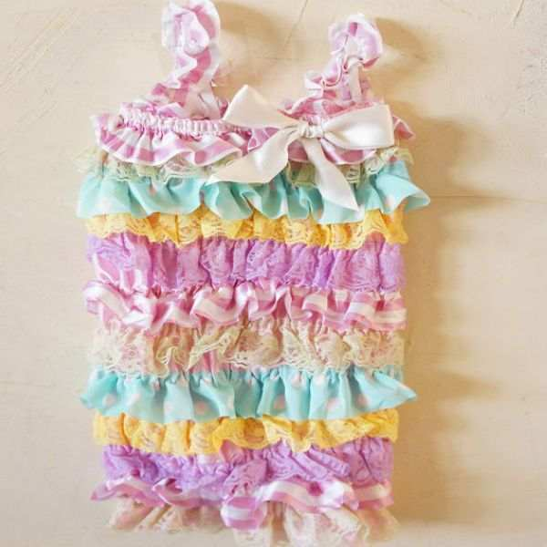 b9b747b41254 placeholder Blue Floral Petti Ruffle Baby Lace Romper 1st Birthday Cake  Smash Outfit 21 Colors