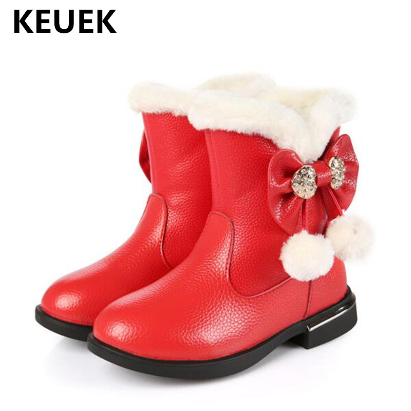 New Winter Children High Boots Girls Genuine Leather Cow Split Princess Butterfly-knot Rhinestone Kids Snow Boots Shoes 041 new winter snow boots children girls genuine leather boots princess student warm with plush toddler shoes kids 041
