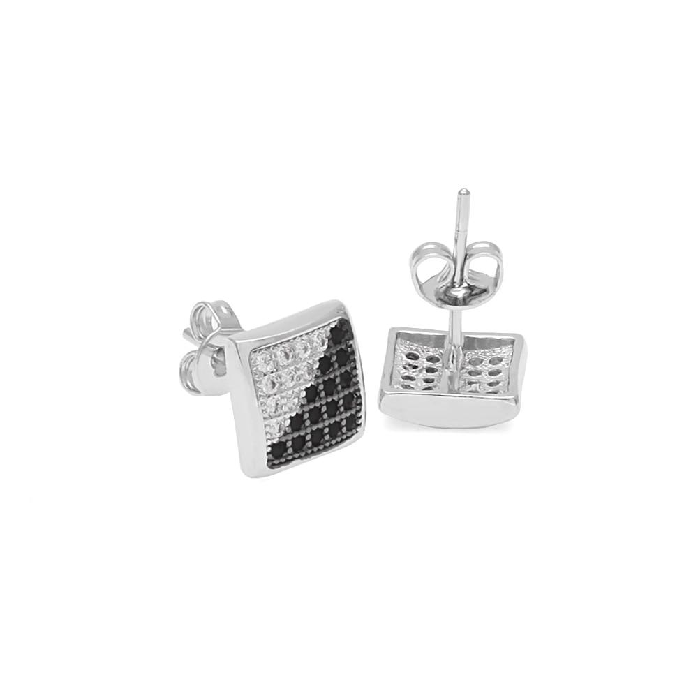 Half Black Half White Twill Micro-inlaid Zircon Men Earrings Stud Earrings Hiphop New Fashion Top Rhinestone Earrings Jewelry
