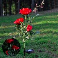 3 LEDs Solar Power Rose Flower Garden Stake Landscape Lamp Outdoor Yard Lights CLH 8
