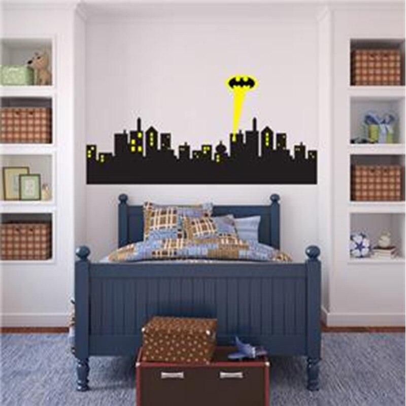 POOMOO Wall Decals *5 sizes* GOTHAM CITY SKYLINE Batman Decal Removable WALL STICKER Home Decor Art
