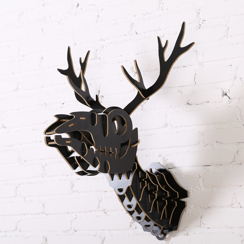 1 Satz Nordischen Stil Holz Tiere Kopf Wandbehänge Hirschkopf Holz Handwerk Für Art Home Wanddekoration Iw-wd019