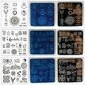 Blueness 1 Шт. 20 Конструкции Nail Art Шаблоны 6 см * 6 см Из Нержавеющей Стали Ногтей Штамповки Плиты Маникюр DIY Трафарет Инструменты