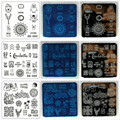 Blueness 1 Pc 20 Designs Available Nail Art Templates 6cm* 6cm Stainless Steel Nail Stamping Plates Manicure DIY Stencil Tools