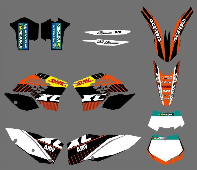 GRAPHICS WITH MATCHING BACKGROUNDS Sticker For KTM 125 150 200 250 300 400 450 505 530