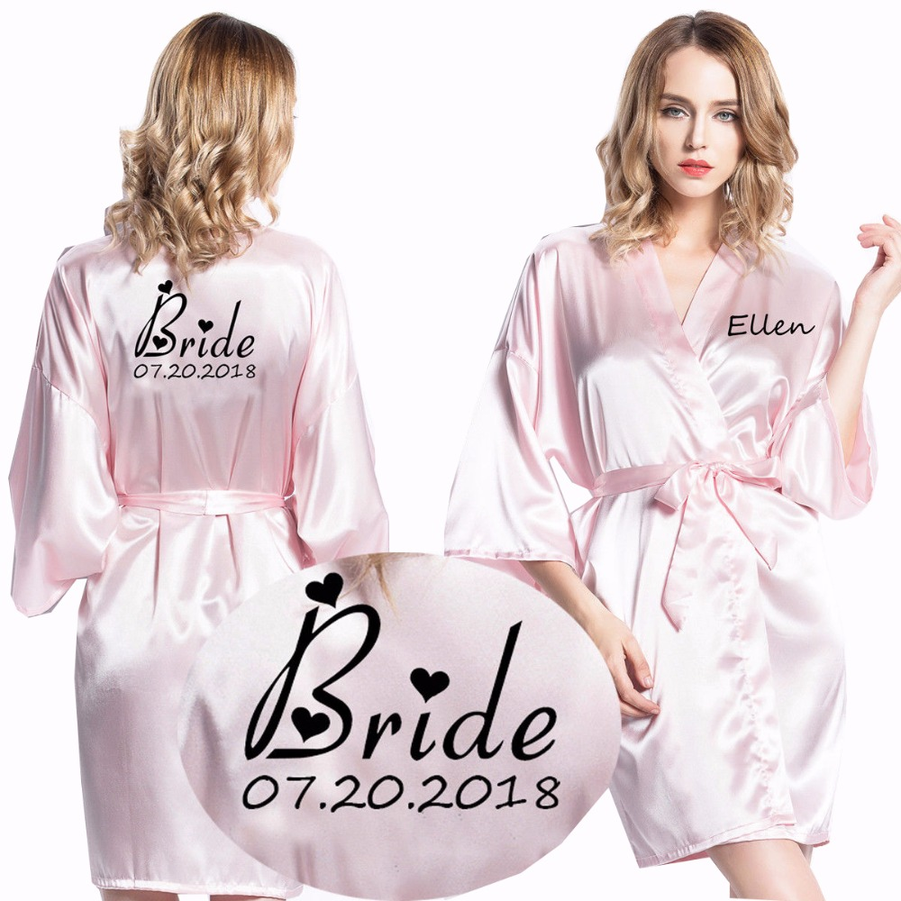 Personalized Robes Satin Silk Printed Gown Wedding Bride