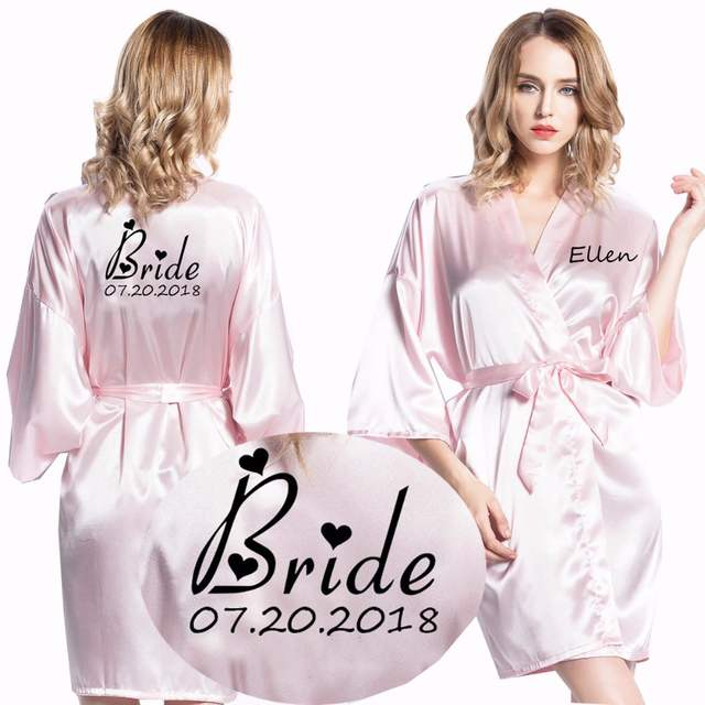 Online Shop Personalized robes Satin Silk Printed Gown Wedding Bride  Bridesmaid Robe 001  5af26b70a42f