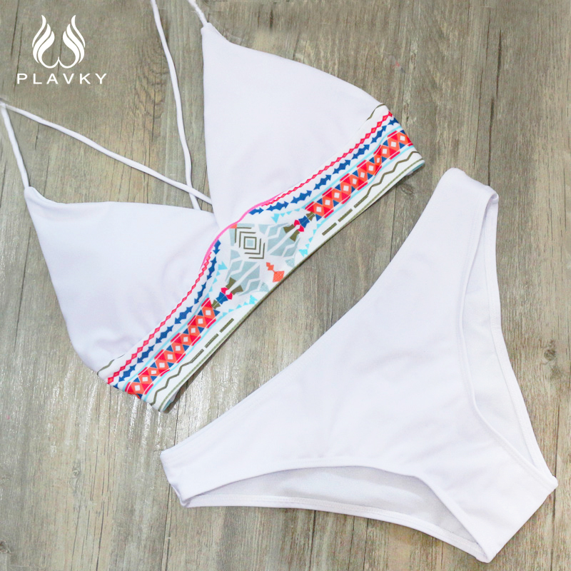 PLAVKY costumi da bagno donna 2017 Women Sexy Bikini Set Push Up Swimsuit Print Fringe Bikini Beach Swimwear Women Bathing Suits 1