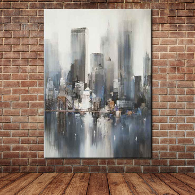 Large Framed Wall Art New York City Landscape Sunset: New York City Wall Picture Poster Knife Painting Abstract