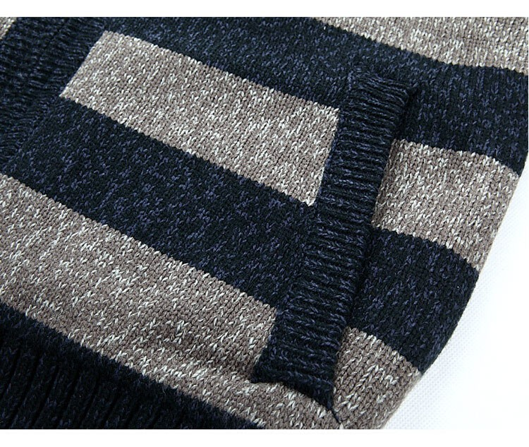 Aolamegs Men Hooded Sweater Fashion Striped Autumn Winter Wool Cardigan Casual Thick Warm Sweater Male Knitting Sweter Hombre (12)