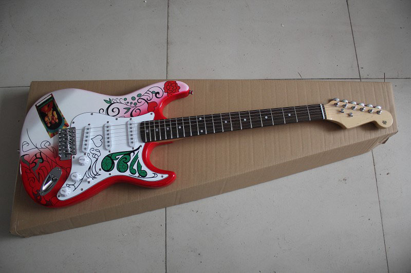 HOT wholesale Special Sales Custom Shop Jimi Hendrix stratocaster red applique Maple Fingerboard ST Electric Guitar 15 9