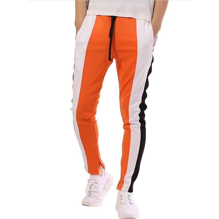 2018 Herbst Männer Casual Hosen Farbe Passenden Hip Hop Fitness Füße Zipper Nähen Hosen Trainingsanzug Böden Jogger Jogginghose KöStlich Im Geschmack