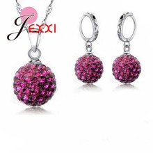 JEXXI Newest Wholesale Price Real 925 Sterling Silver Full Crystals Balls Pendant Necklace Earrings Jewelry Sets For Women Girls(China)