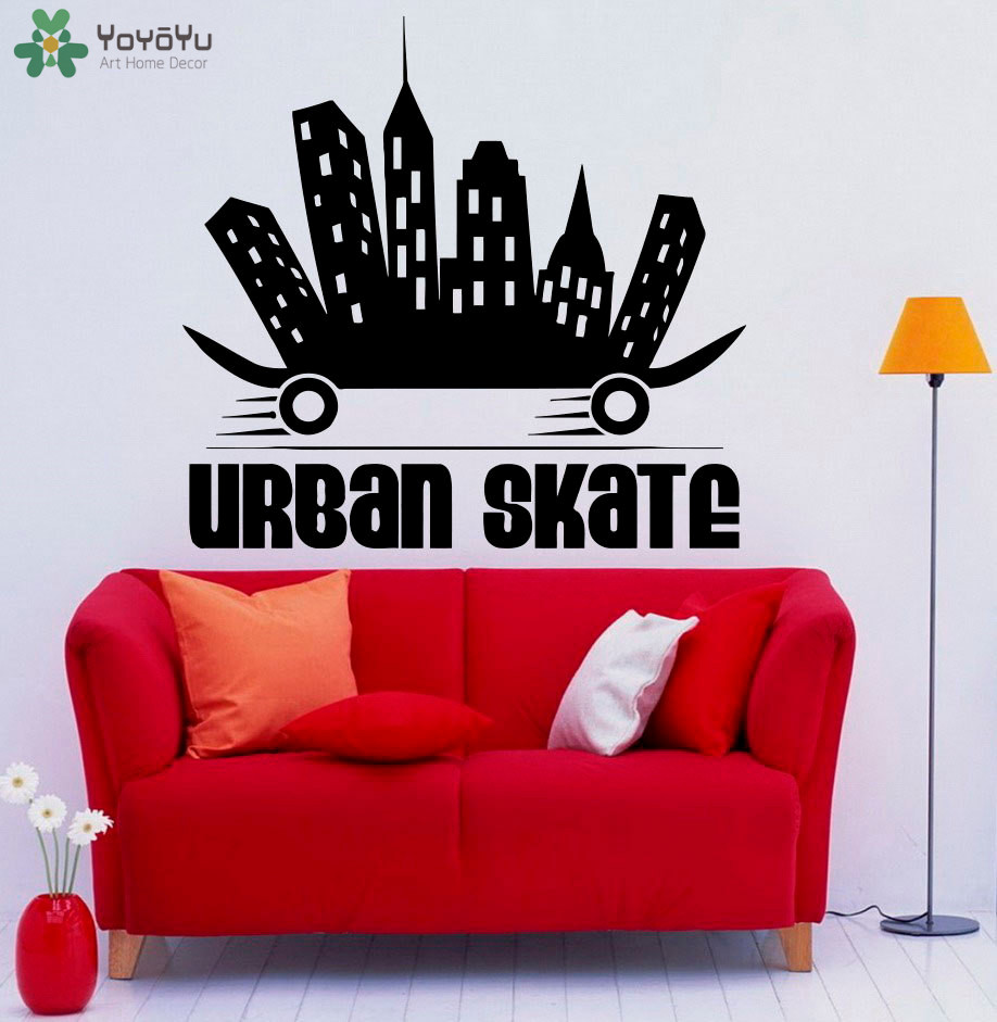 Skateboard Wall Decal Extreme Sports Removable Vinyl Quotes Urban Skate Wall Stickers For Boys Rooms Interior Fashion DecorSY389