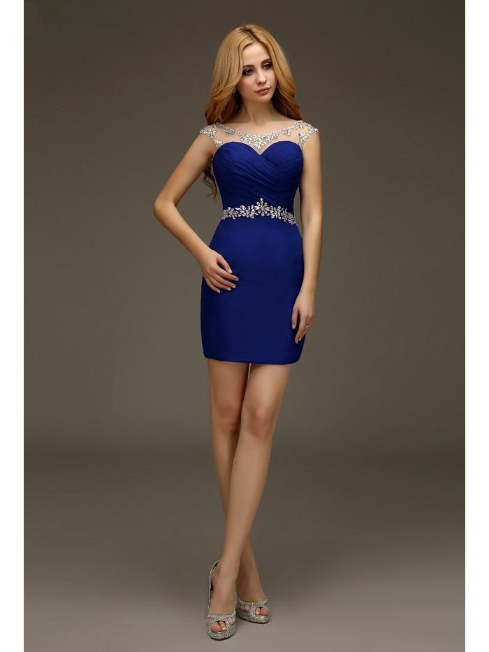 Royal Blue 2019 Elegant Cocktail Dresses Sheath Cap Sleeves Short Mini Chiffon Backless Plus Size Party Homecoming Dresses