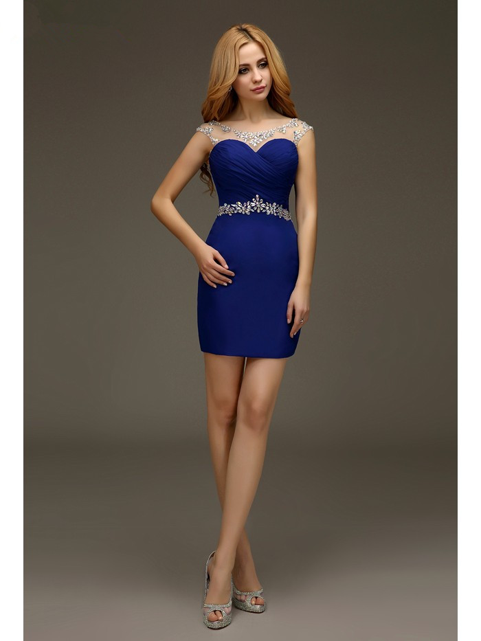 Royal Blue 2019 Elegant   Cocktail     Dresses   Sheath Cap Sleeves Short Mini Chiffon Backless Plus Size Party Homecoming   Dresses