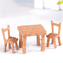 Hot Sale Resin Table Chair Dollhouse Miniature Craft Miniature Landscape Dining Room Kitchen Decor Furniture Toy Children Gift(China)