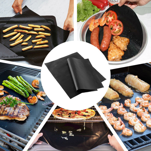 2 pieces/lot reusable thick ptfe barbecue grill mat non-stick 33×40 cm