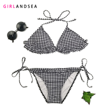 GIRLANDSEA New 2019 Low-waisted Bikini Set Plaid Swimsuit