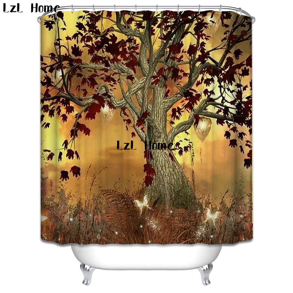 LzL Home The Tree Of Life Shower Curtain Waterproof Polyester Bathroom Curtains Washable For Bathroom Decor With 12 Hooks