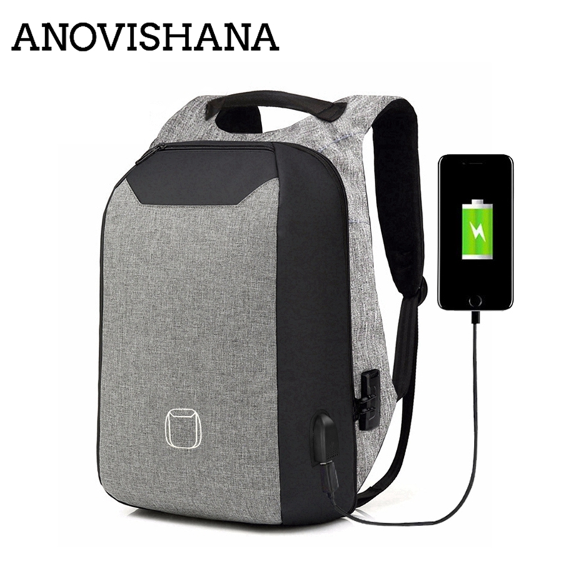 ANOVISHANA External USB Charging No <font><b>Key</b></font> <font><b>TSA</b></font> Anti Theft Men Backpacks Travel Teenage Backpack school Bags male bagpack mochila image