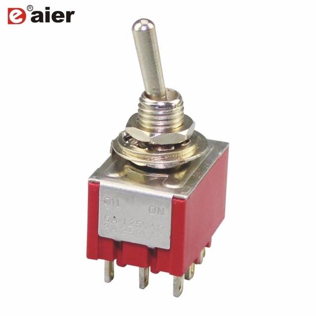 5 sztuk wysokiej jakości miniaturowy przełącznik MTS-302 3PDT 2 pozycji 9 terminalu i staje w sytuacji sam na sam czerwone przełączniki 3 polak 6A wzmacniaczy 125VAC 3A 250VAC