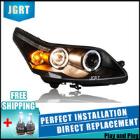 Car Styling For Citroen C4 led headlight assembly 08 11 For C4 head lamp Angel eye led DRL front light H7 with hid kit 2pcs.