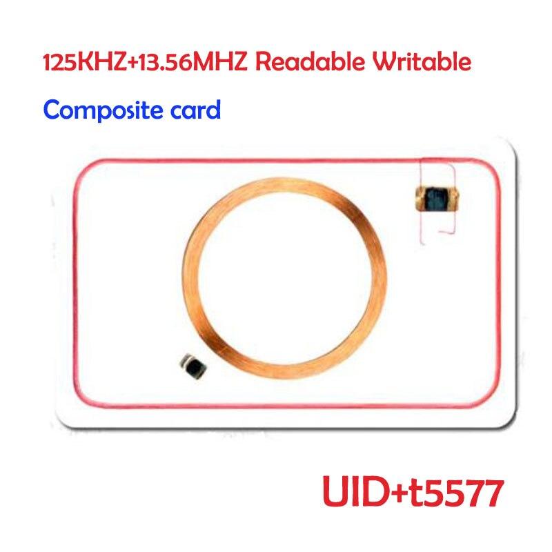 Genial Ic 125 Khz T5577 Rfid + 13,56 Mhz Uid Veränderbar Mf S50 1 Karat Nfc Id Uid Wiederbeschreibbare Verbund Karte Keyfob
