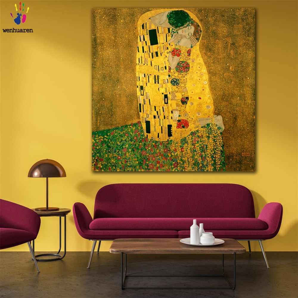 DIY colorings pictures by numbers with colors Gustav Klimt kiss Symbolism picture drawing painting by numbers framed