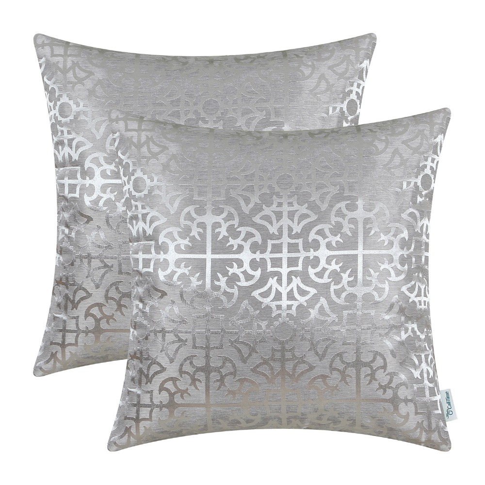 2PCS CaliTime Throw Pillow Covers Cases for Couch Sofa Home Decor Vintage Cross Flowers Geometric 18 X 18 Silver Grey