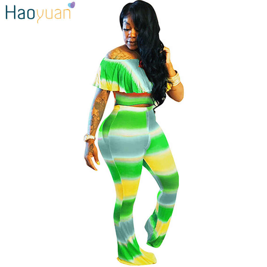 f209cb2360a2 HAOYUAN Plus Size Sexy Two Piece Set Women Outfits Off Shoulder Ruffle Tops+Pants  Suits
