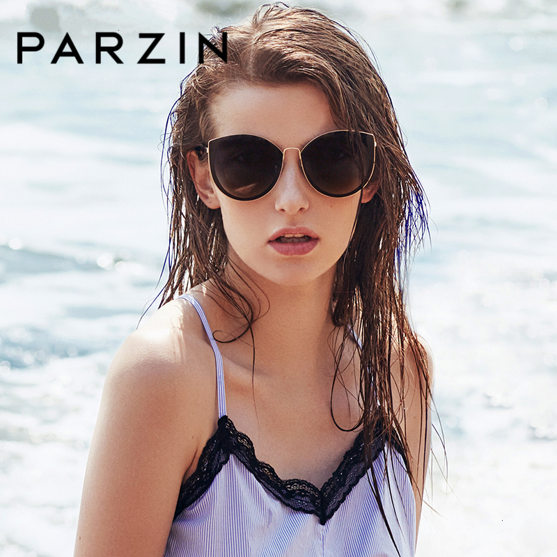 PARZIN Sunglasses Women Polarized Lightweight TR90 Frame Brand Designer Coating Mirror Lens Women's Sunglasses Ladies With Case