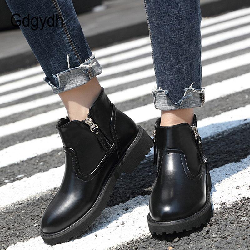 Gdgydh 2018 Spring Autumn Ankle Boots For Women Zipper Round Toe Platform Booties Shoes Square Heels Casual Shoes Good Quality gdgydh women platform heels ankle boots zipper high heels female booties shoes black round toe ladies shoes big size 2018 autumn