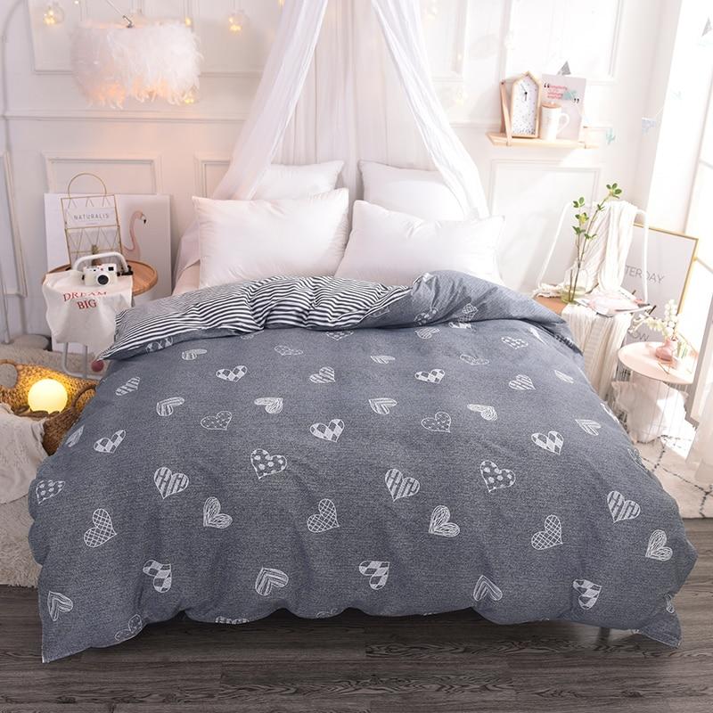 Stylish Gray-Black Cartoon Pattern 100% Cotton Soft Bedding Duvet Cover Comforter/Quilt/Blanket Case With Zipper 220x240cm Size