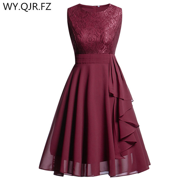 164802aeea6 OML522 Chiffon and Lace Wine Red Short Bridesmaid Dresses Weddiong Party Dress  2018 Prom Gown Women s Fashion Wholesale Clothing