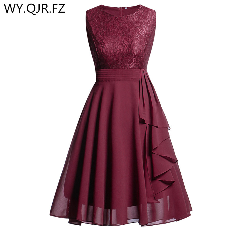 OML522#Chiffon And Lace Wine Red Short Bridesmaid Dresses Weddiong Party Dress 2019 Prom Gown Women's Fashion Wholesale Clothing