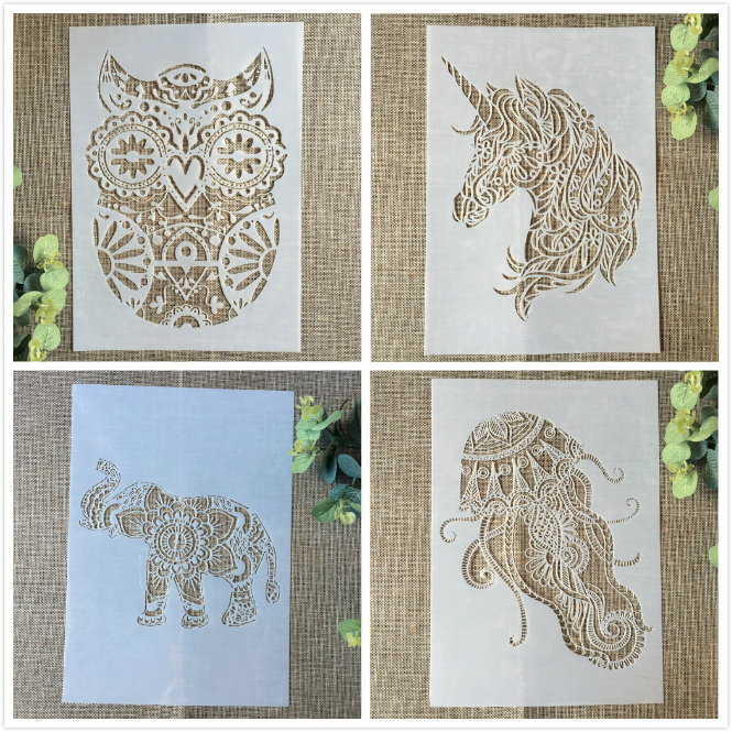 4Pcs 29cm A4 Owl Unicorn Elephant DIY Layering Stencils Painting Scrapbook Coloring Embossing Album Decorative Card Template