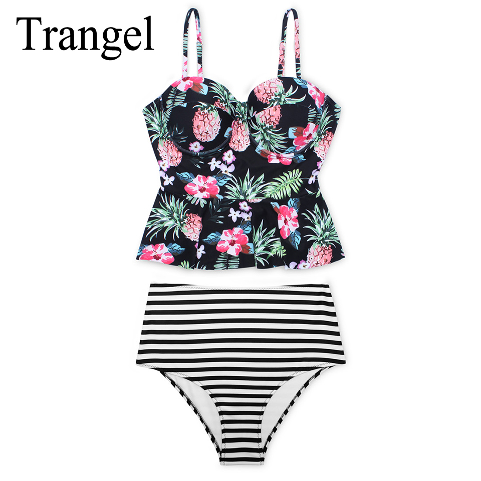 Trangel sexy floral print high waist swimwear 2017 bikini push up swimsuit women bikini set bathing suits summer bikinis BF577 bohemian high waist floral print skirt for women