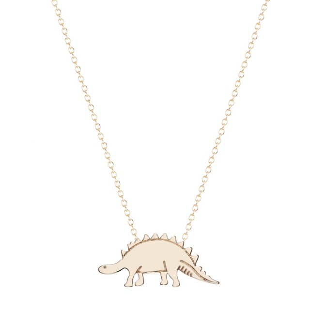 QIAMNI Stegosaurus Dinosaur Necklace Vintage Boho Animal Pendant Necklace Jewelry for Women and Girls Collar Jewelry