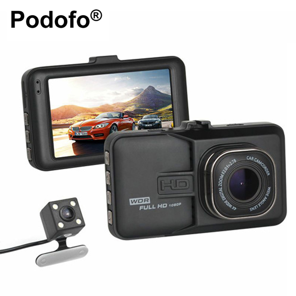 Podofo Двойной объектив Видеорегистраторы для автомобилей Камера 1080 P видео Регистраторы регистратор с резервным заднего Камера видеокамера ...