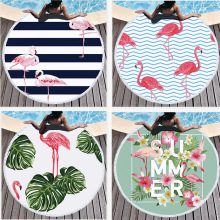 Hot round  microfiber fabric Printed Large Leaves Flower flamingo towel beach towel beach mat bath larges towels for adultse leaves flower pattern round beach throw