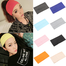 Hot Women Candy Color Wide  Headband Stretch Hairband Elastic Hair Bands Turban 7FZS