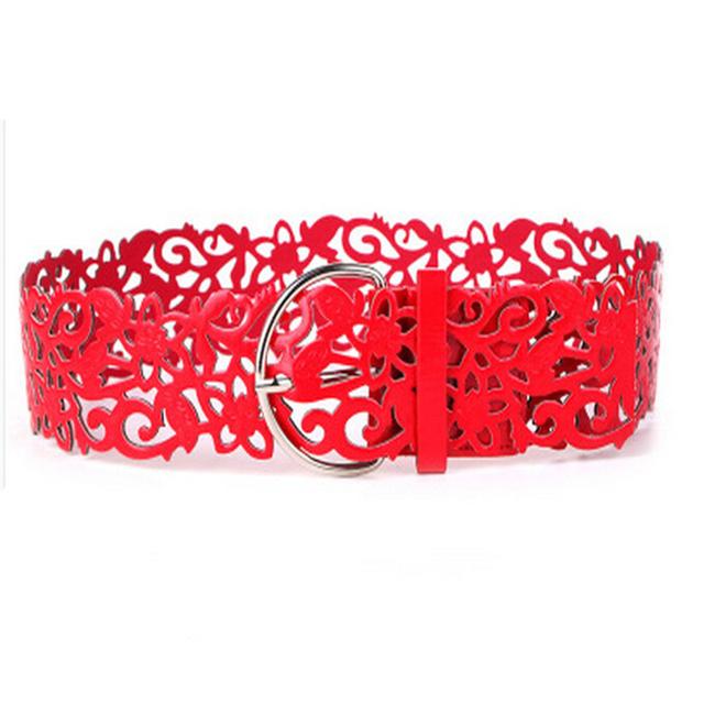 Hot Fashion 6 Colors Women's Lady Tie Belt Wide Hollow Buckle Waist band Waistband Waist Belt Cai0406