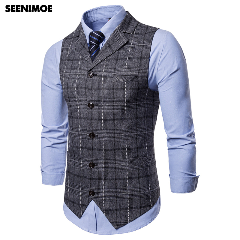 Seenimoe Vests Plaid Formal Stripe Casual Blazer Single-Breasted Mens V-Neck Male Fashion
