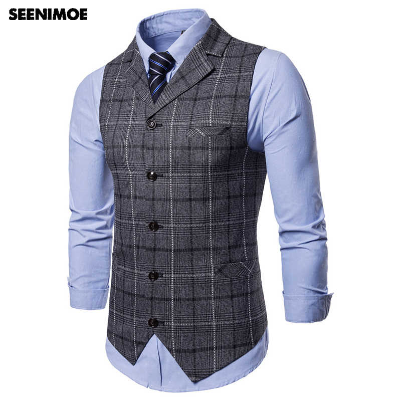 Seenimoe Pria Garis Plaid Formal Blazer Rompi Kasual Single Breasted V-Leher Fashion M-4XL Pria Inggris Gaya Kasual Rompi