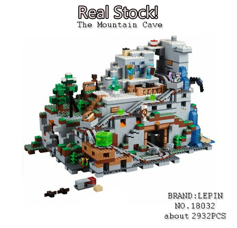 Model Building Kit Blocks Bricks Miniecraft 2932pcs The Mountain Cave My worlds LEPIN 18032 Compatible with lego 21137 the forbidden worlds of haruki murakami
